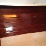 V berth ceiling with first coat of cetol Natural teak.