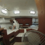 Paige painting the aft cabin.