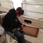 The Admiral sanding away...